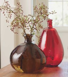 Recycled Glass Balloon Vases - VivaTerra  -  irregular, lopsided.  look at other colors.         lj