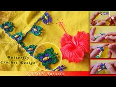 How to make Butterfly Crochet Saree Tassels Designs, Saree Kuchu Designs, Blouse Designs, Tatting Necklace, Crochet Necklace, How To Make Butterfly, Saree Border, Designer Socks, Beautiful Crochet