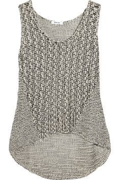 Helmut Lang Drop Hem Tank at Lagarconnehi-lo hem, pattern panelling Adapt to crochet with varied stitcheswouldnt mind getting this as a bday gifttwo ends of non-transdry Moda Crochet, Knit Crochet, Fashion Moda, Knit Fashion, Mode Style, Style Me, Mode Plus, Summer Knitting, Mode Inspiration