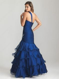Trumpet/Mermaid One Shoulder Chiffon Floor-length Sleeveless Tiered Prom Dresses at pickedone.com
