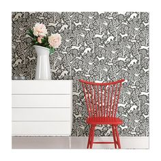 Features:  -Unpasted non woven material.  -Drop match.  -Washable and strippable.  -Pattern: Wildlife.  -Square Footage per Roll: 56.4 Square Feet.  Product Type: -Roll.  Style (Old): -Modern.  Applic