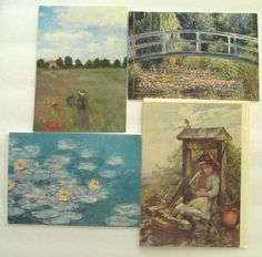 Fine Art Greeting Card Monet Antique Lithograph 3 Any Occasion Blank Multi Color #AlzheimersAssociation #AnyOccasion