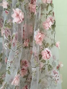 3D Organza lace fabric with Pink 3D chiffon rosette flowers