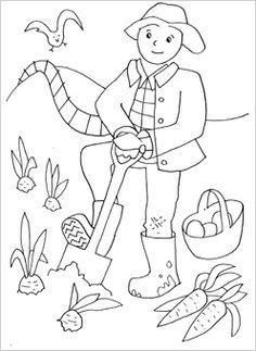 people coloring pages farmer field and bird