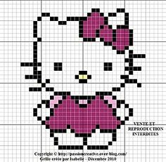 Free Pink Hello Kitty Hama Perler Bead Pattern or Cross Stitch Chart and like OMG! get some yourself some pawtastic adorable cat apparel! Simple Cross Stitch, Cross Stitch Baby, Cross Stitch Charts, Cross Stitch Designs, Cross Stitch Patterns, Crochet Hello Kitty, Chat Hello Kitty, Pink Hello Kitty, Perler Patterns