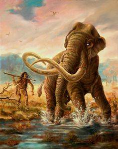 Mammoth Hunter by Theodore Morris. A cautious hunter stalks a Florida mammoth that is mired in the mud of a riverbank, the hunter takes advantage of this unique opportunity to get in close enough to use his large spear.