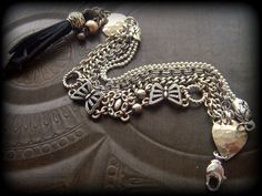 Gypsy BohemianVintage Chain Silver Kuchi Layered New by YuccaBloom