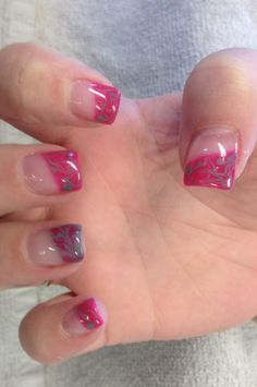 Pink & Grey swirl nails