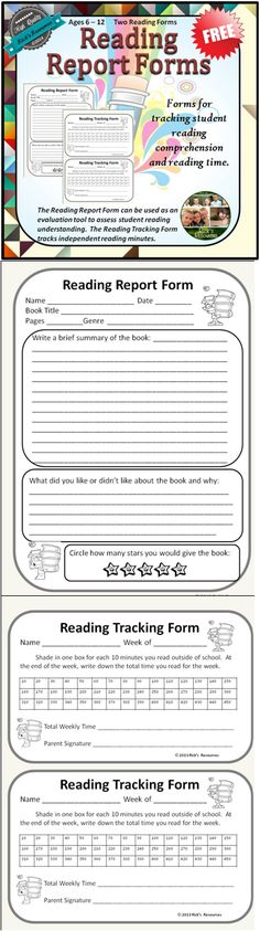 These forms are for tracking student reading comprehension after completing a book and for tracking student minutes read. The Reading Report From can be used as an evaluation tool to assess reading understanding. The Reading Tracking Form tracks independent reading minutes. Enjoy!