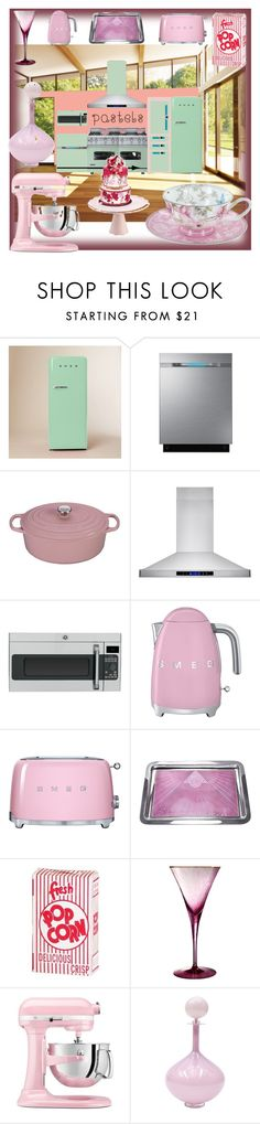 """""""Pastel Kitchen"""" by pierre-angello ❤ liked on Polyvore featuring interior, interiors, interior design, home, home decor, interior decorating, GAS Jeans, West Elm, Samsung and Le Creuset"""