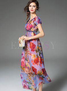 Sexy V-Neck Digital Print Dress | Ezpopsy.com