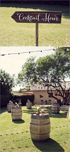 ideas for backyard table setting outdoor parties wedding reception Cocktail Wedding Reception, Wedding Reception Signs, Cocktail Tables, Wedding Rustic, Trendy Wedding, Reception Ideas, Party Wedding, Wedding Bells, Outdoor Cocktail Party