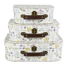 Set of 3 Wildflower Storage Suitcases