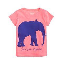Girls' elephant and bird tee