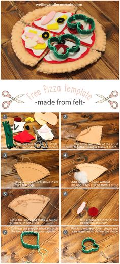 Free template for felt pizza. Make this for your child for hours of play. Only takes one afternoon to make and is so much fun! Find it over at http://www.welliesandlemonade.com/pizza-made-felt