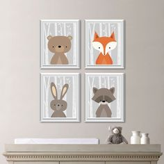Woodland Nursery Art: This four-print set features four images of woodland animals: moose, bear, owl, raccoon, rabbit and fox, on a birch
