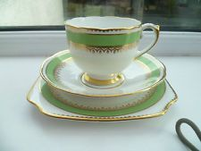 Lovely Vintage China Trio Tea Cup Saucer Plate Lawleys Green Gilded 8898