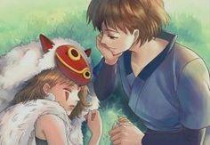Studio Ghibli - Ashitaka watching over sleeping San.