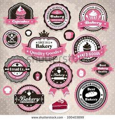 Vintage cupcake logos