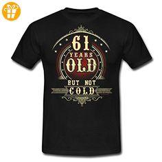 Geburtstag 61 Old But Not Cold RAHMENLOS® Männer T-Shirt von Spreadshirt®, 4XL, Schwarz - Shirts zum geburtstag (*Partner-Link)