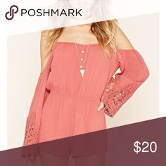 Pink cold-shoulder romper! Pink cold-shoulder boho romper.  Super cute lace on the sleeves and buttons on the front. Like new condition, size M but could also fit a small for sure. Forever 21 Dresses Mini