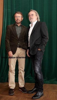 Björn und Benny bei der Pressekonferenz, Sept. 2015