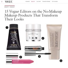 """Want to achieve a 'no makeup' makeup look? 15 Vogue Editors shared their instant complexion-saving makeup and skin care products to achieve a """"no makeup makeup"""" look. If you want to know more about this, visit http://www.vogue.com/13257302/best-no-makeup-makeup-natural-products/"""