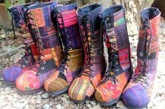 Women's Combat Boots Ethnic Hmong Patchwork Mid Calf Lace Up  - Britta