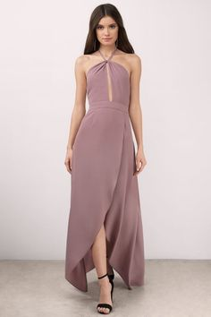 "Shop the ""Patti Mauve Maxi Dress"" on Tobi.com! weddings outfits wedding guest high low slit keyhole plunge halter flowy sexy summer spring maxi long"