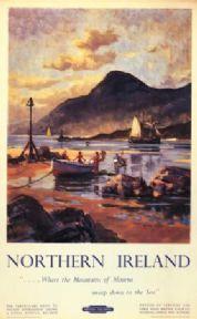 Irish Travel Poster, Carlingford Lough, Mourne Mountains, Northern Ireland