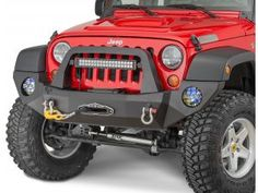 Rock-Slide Engineering Rigid Series Front Bumper with Bull Bar & Winch Mount in Textured Black