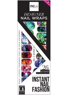 Ink Drop nail wraps in bright color splatters for a DIY simple and unique manicure, easy nail art