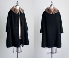 BLACK WOOL COAT 1960s Vintage Black Wool Fur Collar by decades, $180.00