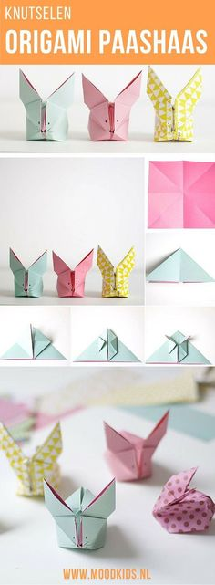 Vouw deze leuke origami paashaasjes in alle kleuren. Samen met de kinderen heb je in no-time een huis vol van deze leukerds. Design Origami, Origami Star Box, Origami And Kirigami, Origami Simple, Useful Origami, Fun Origami, Origami Folding, Easy Origami For Kids, Oragami