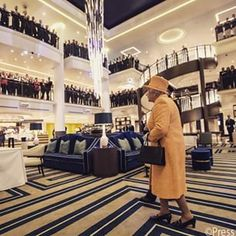 The Queen explores #Britannia after her official naming ceremony. Britannia is the largest cruise ship built for P&O cruises and will be able to accomodate 3647 passengers and 1350 crew.
