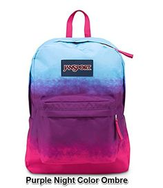 JanSport Superbreak Girly School Backpack B1020: Purple Night Color Ombre. Ultra-functional school backpack/daypack with 600-denier construction. Single main compartment and front pocket with organizer for smaller items. Stores 2 to 3 textbooks, binder, spiral notebooks, calculator, cell phone, and more. Comfortable straight-cut, padded shoulder straps and 2/3-padded back panel. 1,551.2 cubic inches of storage; measures 13 x 16.7 x 8.5 inches (W x H x D).