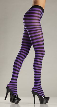 2ec9be65917 Sexy Purple Black Stripe Goth Tights Punk Costume Stockings  BeWicked   Stockings Punk Costume