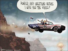 Thelma & Louise, Trump, Obam, Inauguration, Cartoon, Humor, Satire, Funny, Delonas, Sean Delonas, SeanDelonas.com