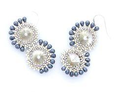 Beadwork Earrings / Beaded Swarovski Earrings / Silver by Ranitit