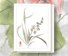 Watercolor Chinese Brush Painting Cards  Wild Lilly via Etsy