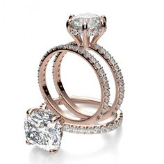 Under Halo U Prong Pave Diamond Engagement Ring, RoseGold or White gold , ring size 6.75, center carat: 1 OR 1.2, CUSHION CUT, NOT ROUND $6000-$7000. matching wedding band $950.  H, SI2, on all NICOLE