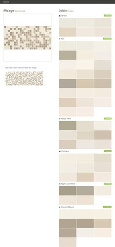 Mirage. Keystones. Mosaic. Daltile. Olympic. Behr. Valspar Paint. PPG Paints. Ralph Lauren Paint. Sherwin Williams.  Click the gray Visit button to see the matching paint names.