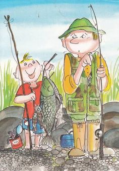 Ready to go fish'n in Colorado! Doll Eyes, Gone Fishing, Whimsical Art, Pebble Art, Cute Illustration, Designs To Draw, Art Lessons, Painting & Drawing, Art For Kids