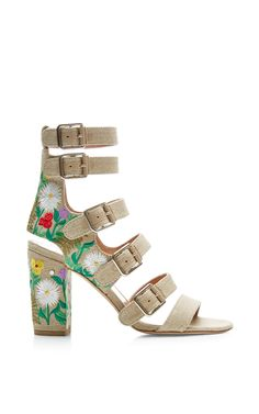 Dana Embroidered Linen Sandals by Laurence Dacade - Moda Operandi