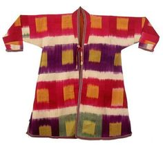 Man's robe made of multicolored ikat, c. 1910, from Samarkand, Uzbekistan. From the Victoria & Albert Museum - The History of Ikat