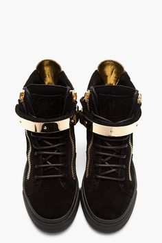 Would love to add these to my collection | GIUSEPPE ZANOTTI Black Suede Gold-Trimmed August Sneakers