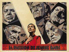 French 4-panel poster for LA PASSION DE JEANNE D'ARC (Carl Th. Dreyer, France, 1928) Artist: René Péron (1904-1972)