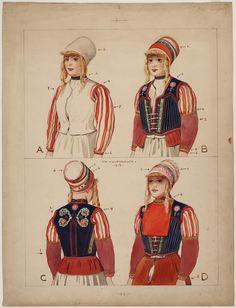 Verschillende stadia in het aankleden van een Marker vrouw,  voor- en achter