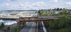 View of the bridge as seen from the south. (City of Everett) Bridge Design, Pedestrian Bridge, City, Building, Image, Buildings, Cities, Construction