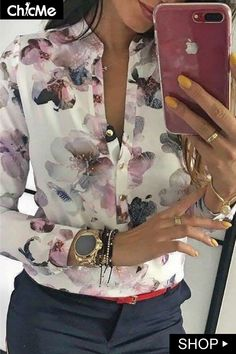 Floral Print Button Up Long Sleeve Blouse